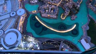 Dubai Mall Fountain Full SHOW HD from BURJ KHALIFA Balcony