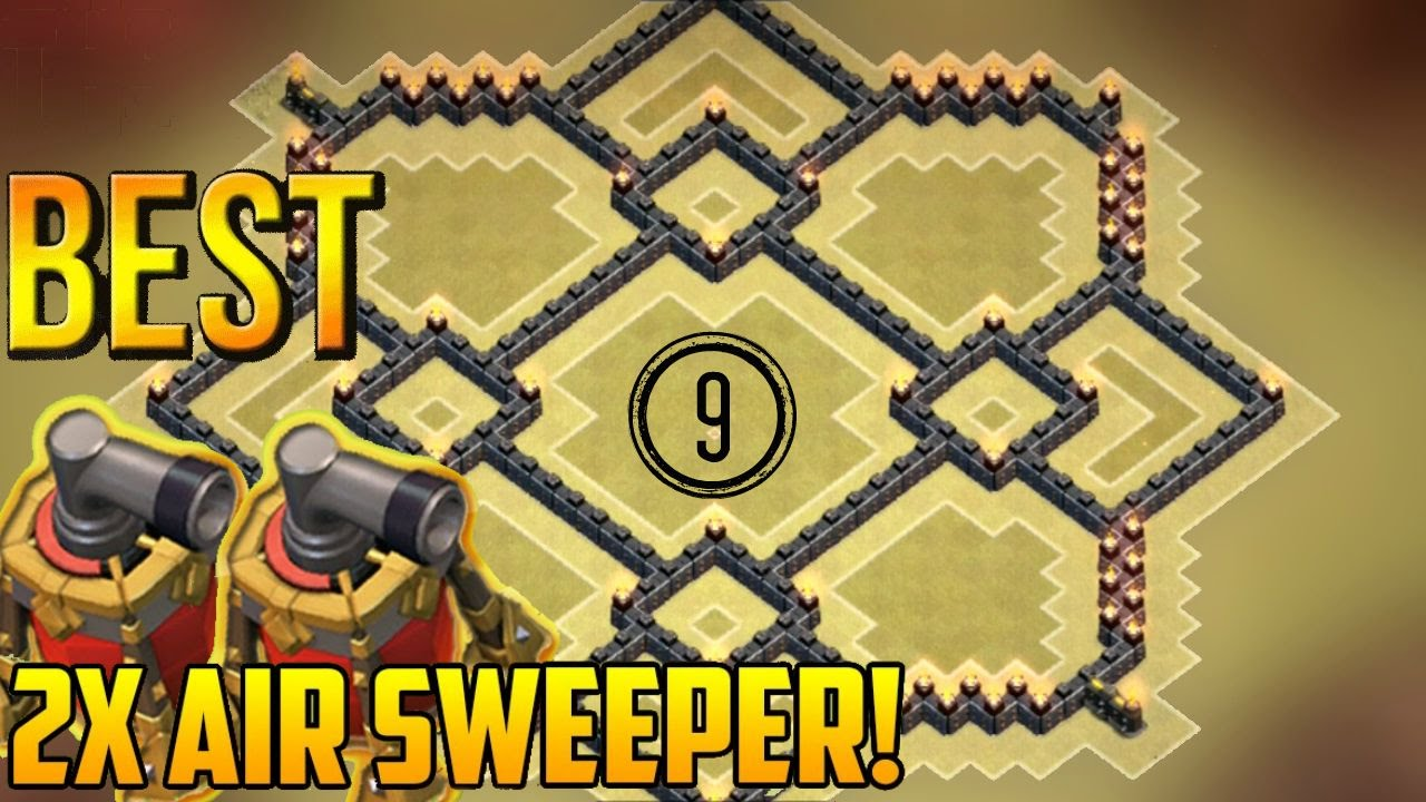 Clash of clans town hall 9 th9 best war base with 2 air sweepers