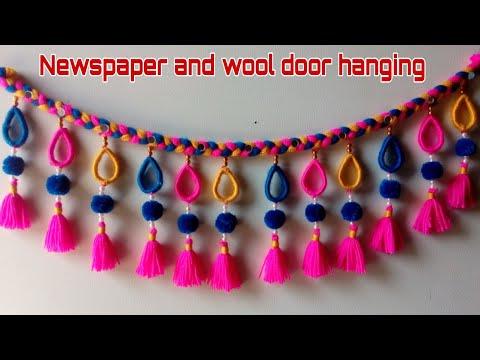 DIY easy woolen and newspaper door hanging/ wool toran making/ Amazing toran/ DIY Innovativ Ideas