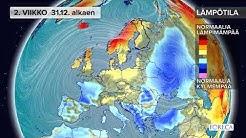 Kuukausiennuste lämpötiloista 25.12.2018