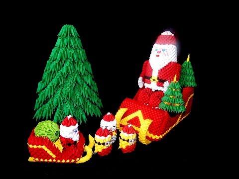 3D Origami Santa Claus tutorial part1 || DIY paper Santa Claus 1