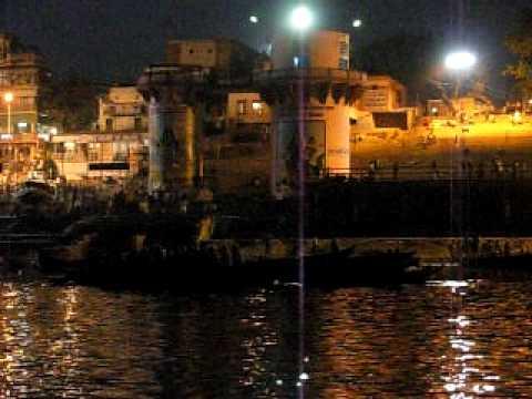 Ganga Harati at Varanasi---View from a boat.