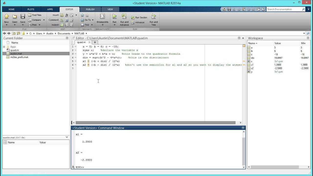 How to create a script for the quadratic formula in matlab hd how to create a script for the quadratic formula in matlab hd youtube falaconquin