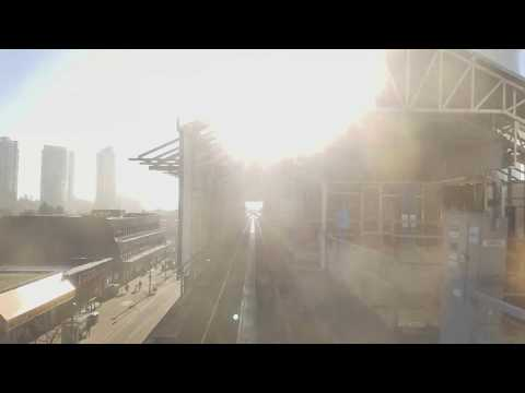 Vancouver SKYTRAIN: REAR SEAT VIEW (FOG) EXPO LINE WESTBOUND Pt. 1 King George to New Westminster