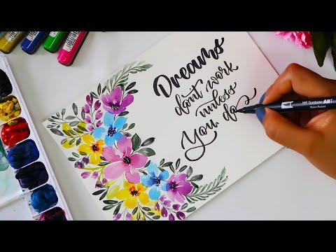 Colorful floral wreath with Calligraphy | Watercolor painting ideas