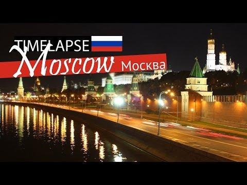 Kremlyovskaya naberezhnaya in night | Kremlin (TIME LAPSE 4K) - Moscow, Russia