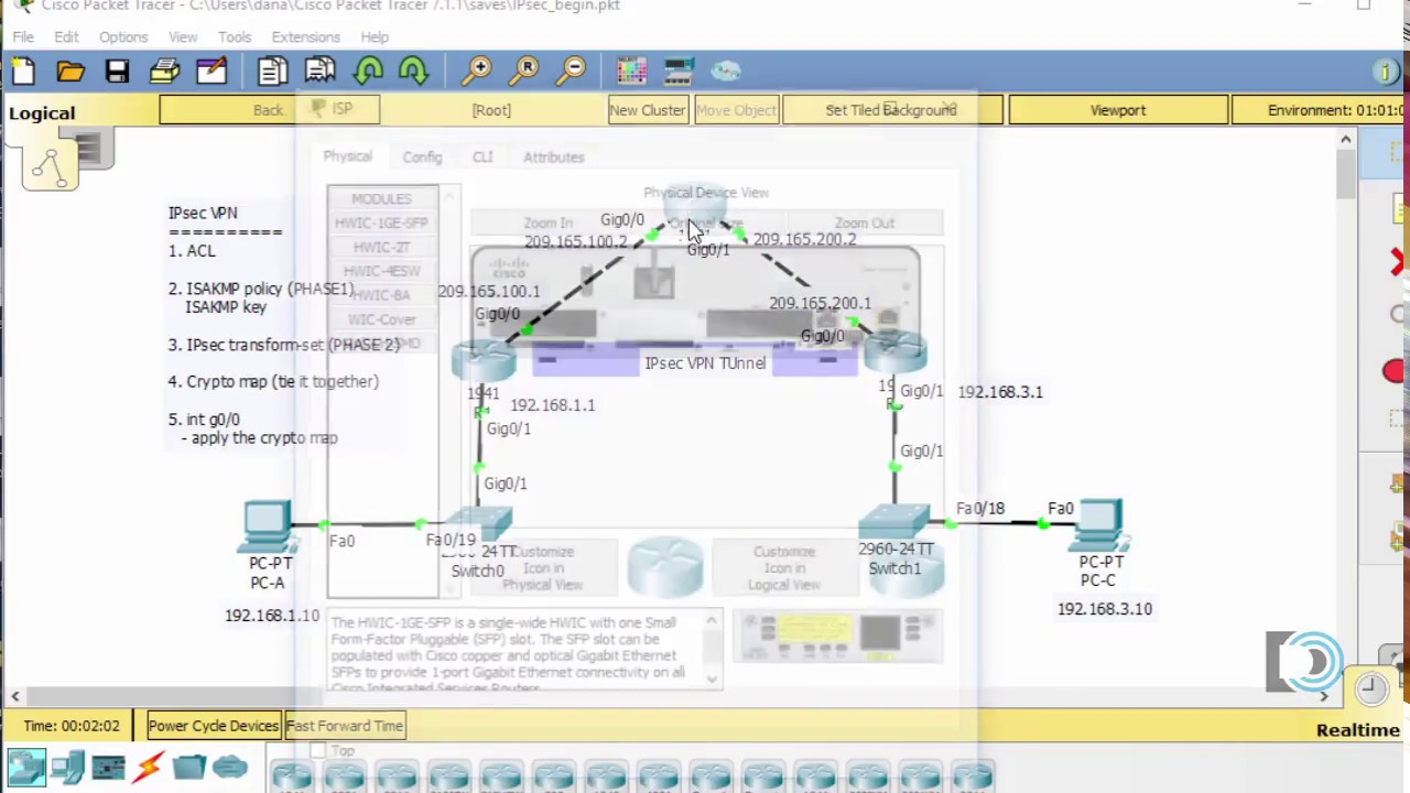 Create an IPsec VPN tunnel using Packet Tracer - CCNA Security