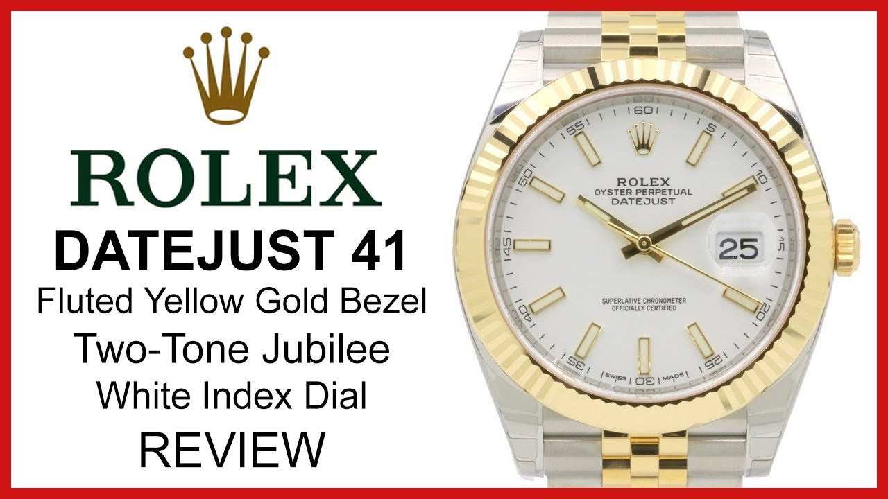 9c8c5e0de35 Rolex Datejust 41, Fluted Yellow Gold, Two-Tone Jubilee, Rolesor, REVIEW White  Index - 126333