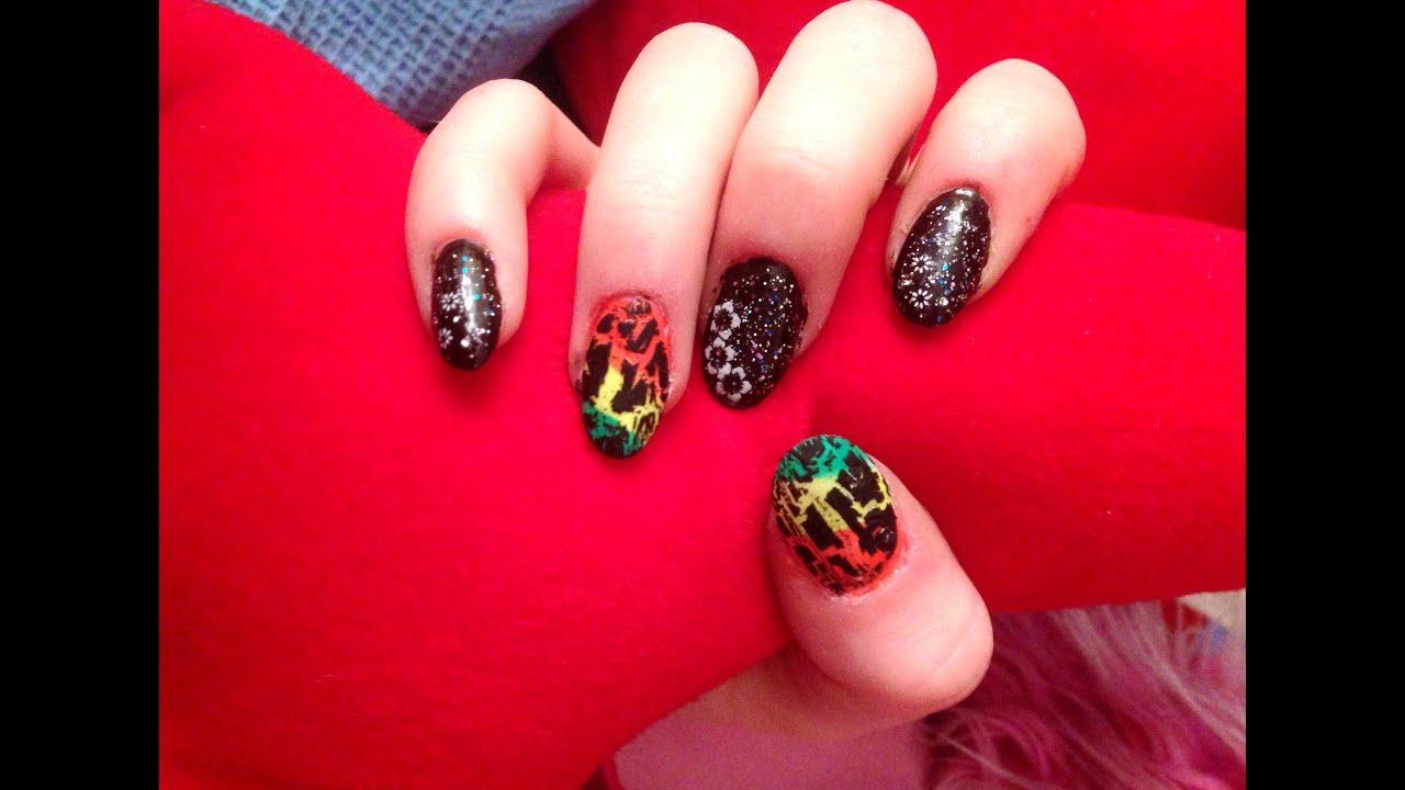Black Rasta Inspired Nail Art - Black Rasta Inspired Nail Art - YouTube