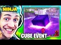 NINJA REACTS TO LOOT LAKE CUBE EVENT (CUBE DESTROYS LOOT LAKE) | Fortnite Daily Funny Moments Ep.200