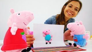Свинка Пеппа делает подарок из ПлейДо. Поделки из пластилина