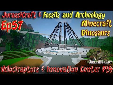 JurassiCraft & Fossils and Archeology Mod Jurassic World Ep57 Velociraptors Innovation Center Pt4