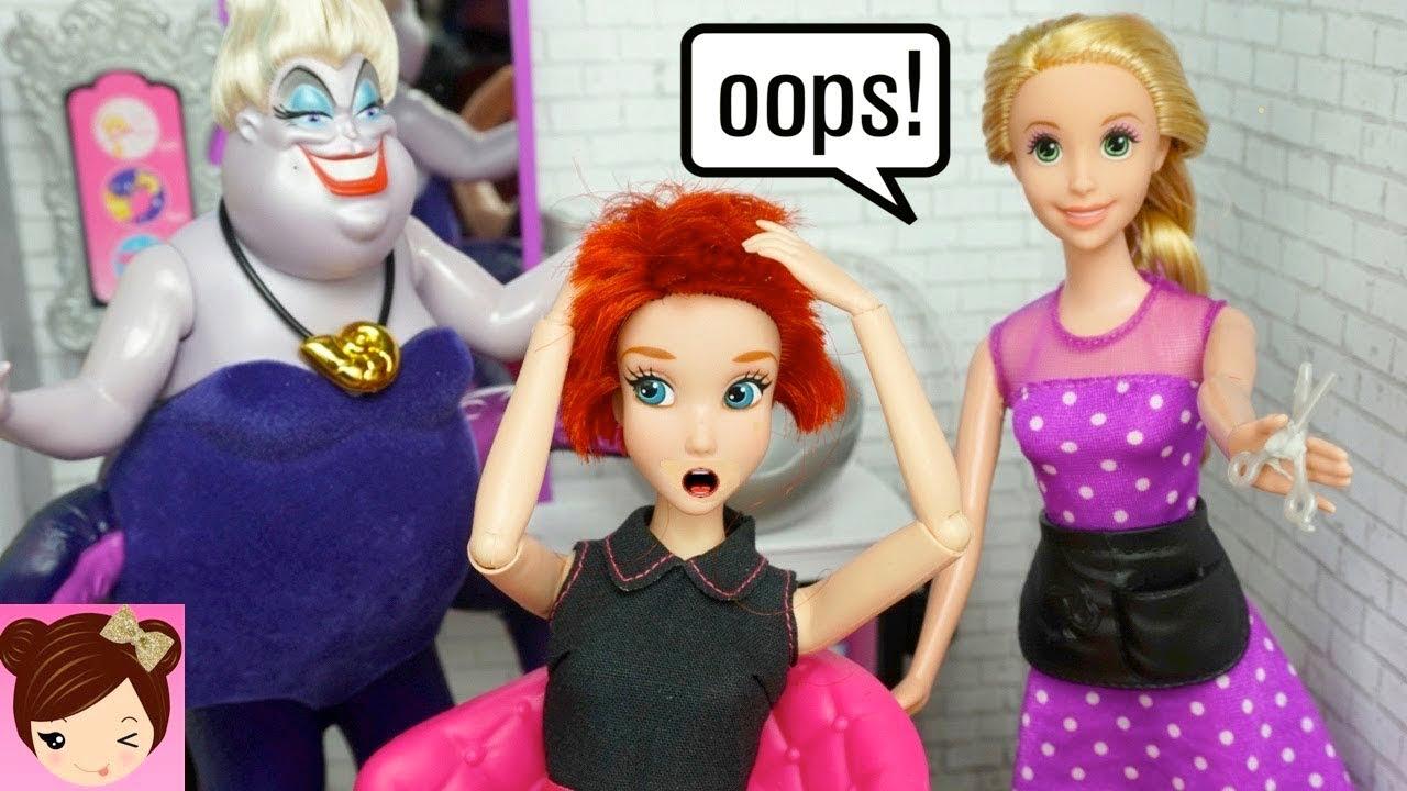 Rapunzel Barbie Beauty Salon Makeover Hair Style on Little Mermaid Ariel & Disney Princess Dolls