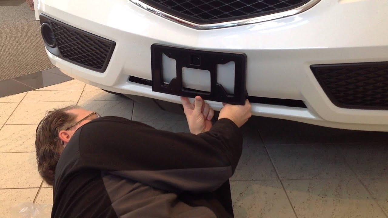 How To Install A Front License Plate Bracket On A Acura RDX - Acura tl license plate frame