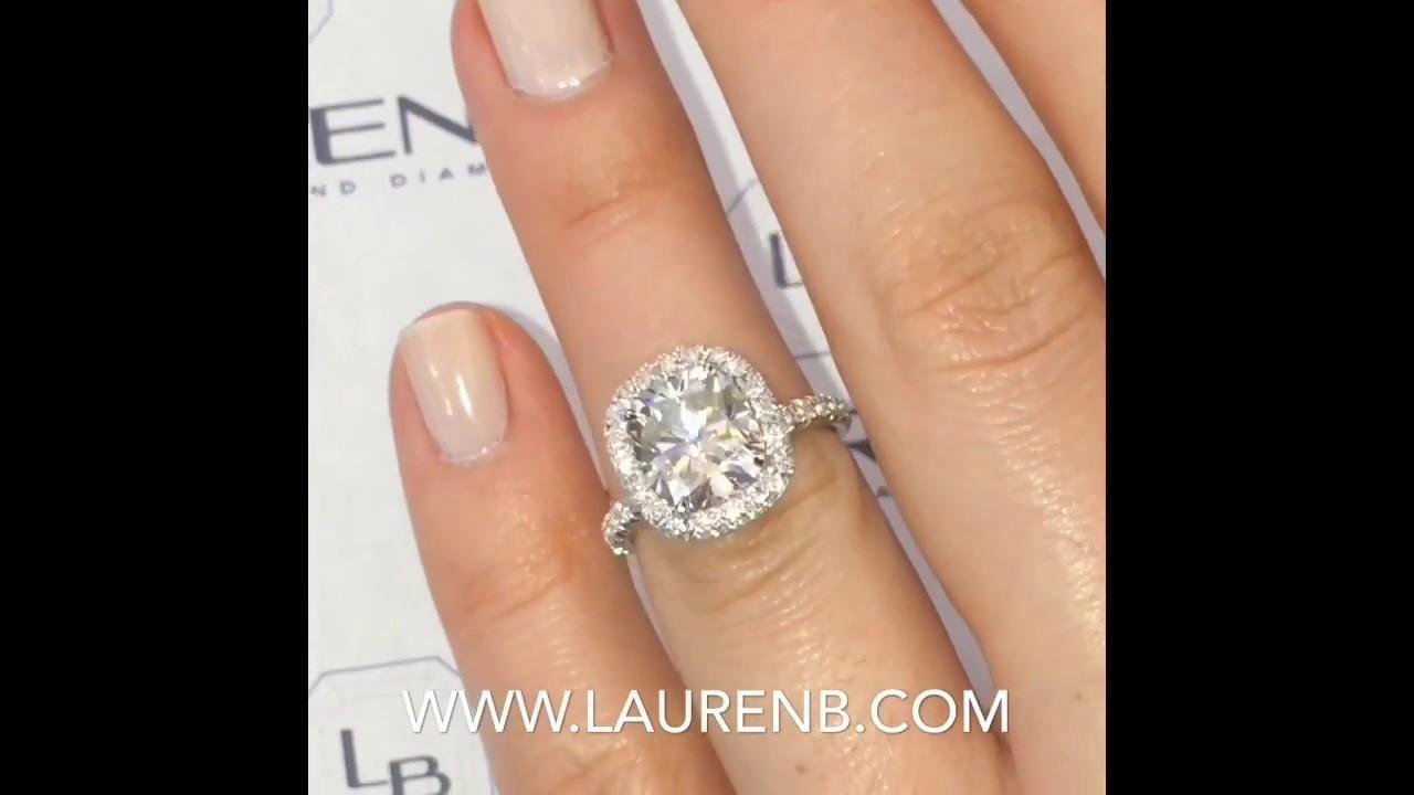 3 Carat Cushion Cut Moissanite Halo Engagement Ring