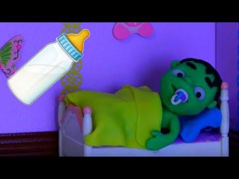 BABY HULK CAN'T FALL ASLEEP ❤ Superhero & Frozen Elsa Play Doh Cartoons For Kids