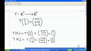Find the matrix representation of a linear transformation with stan...