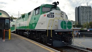 The Rush Hour Parade of Trains at Mimico Station - GO F59PH