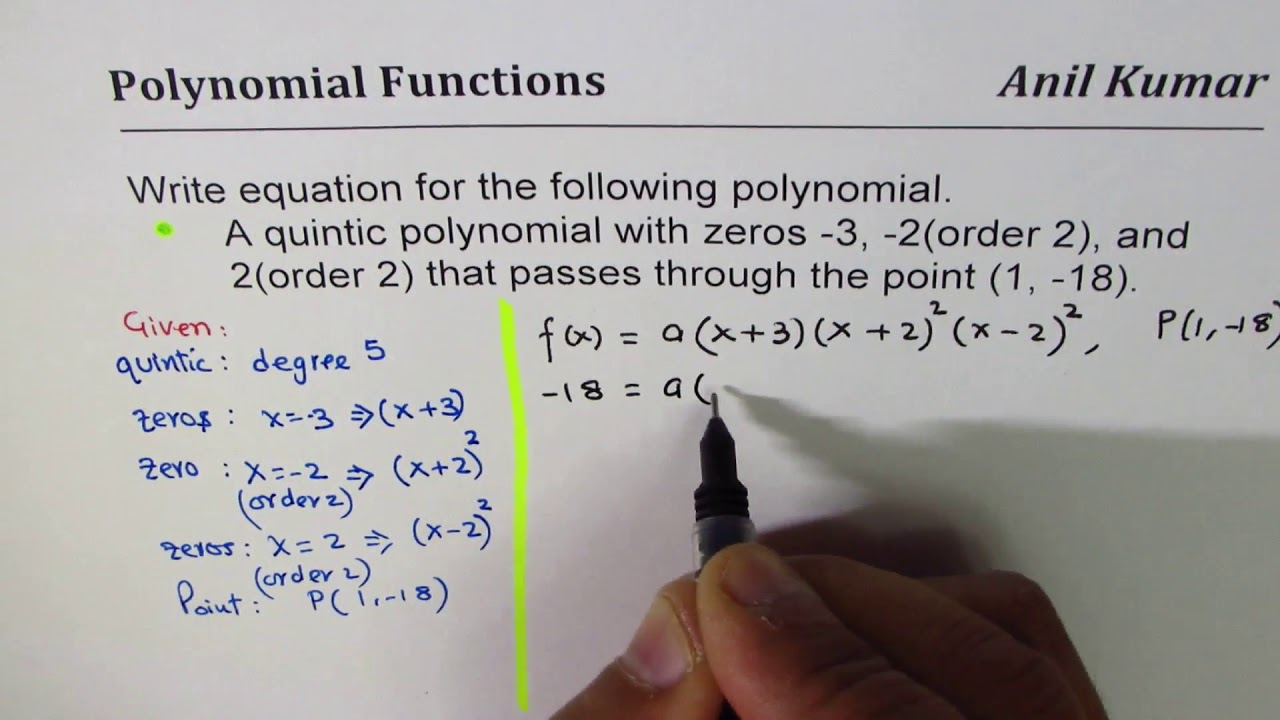 Find Quintic Polynomial Equation from three zeros or given ...