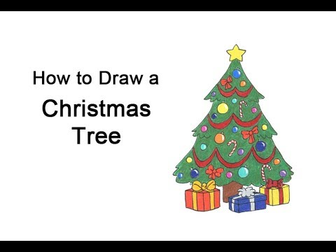 Drawing Christmas Tree Sketch.How To Draw A Christmas Tree Video Step By Step Pictures