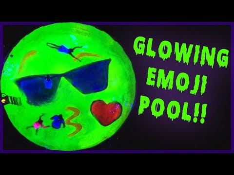 DAD TURNS POOL INTO GIANT GLOWING EMOJI!