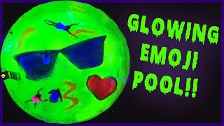GLOWS IN THE DARK Emoji Swimming Pool!