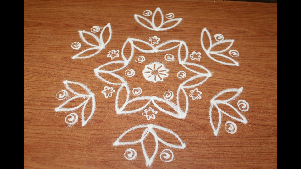 Simple Rangoli Flower Design With Interlaced 7 4 Dots Simple Flower