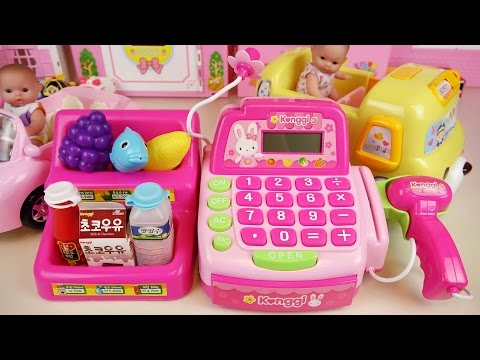 Mart cash register and Baby doll car toys play