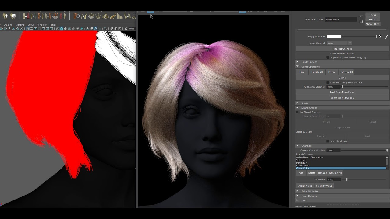 Painting Ornatrix hair with Redshift for Maya