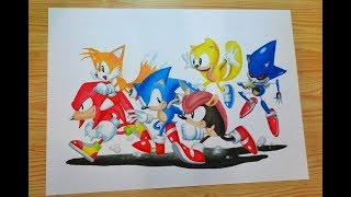 Speed Drawing Sonic Mania Plus (Mighty and Ray)