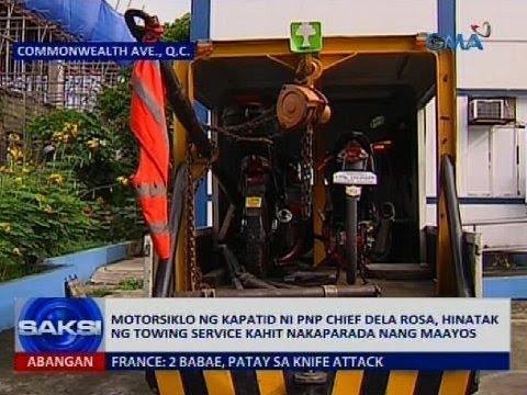 Motorsiklo ng kapatid ni PNP chief Dela Rosa, hinatak ng towing service kahit nakaparada nang maayos