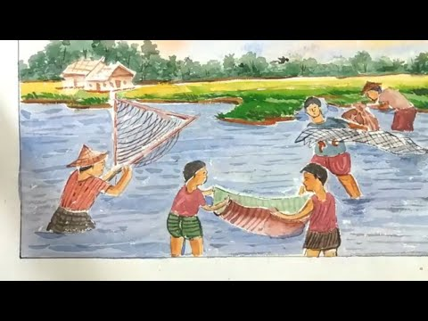 How To Draw Fishing Scenery/Draw Fishing With Net Step By Step...fisherman Catching Fish
