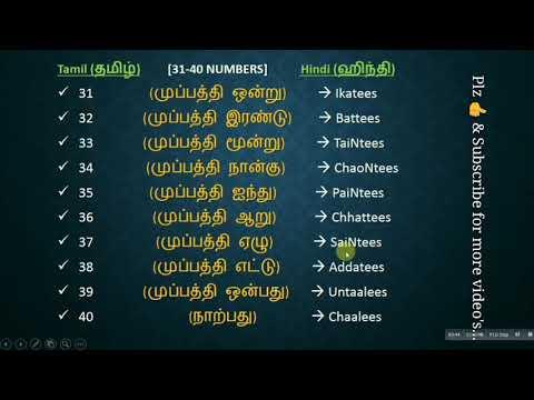 Spoken Hindi Through Tamil  -#-  HINdI NuMbErS 1 To 40