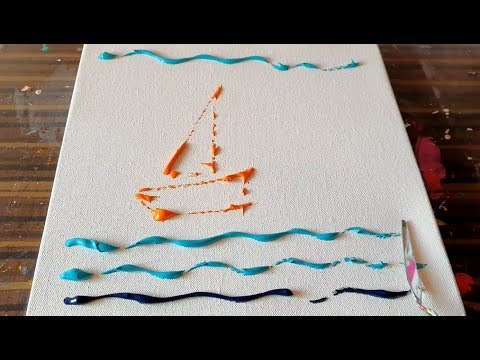 Simple / Sail Boats / Abstract Painting Demonstration / Satisfying / Project 365 Days / Day #0365