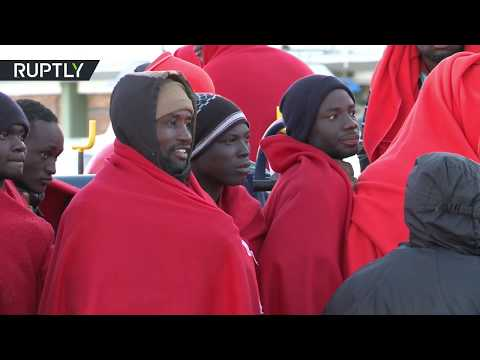 Migrants arrive in Spanish Malaga after rescue operation
