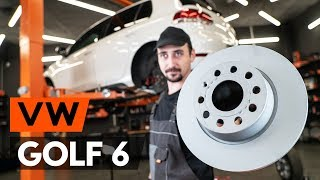 How to change rear brake discs / rear brake rotors on VW GOLF 6 (5K1) [TUTORIAL AUTODOC]