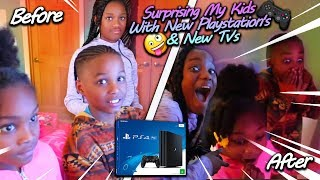 surprising my kids with new ps4s tvs