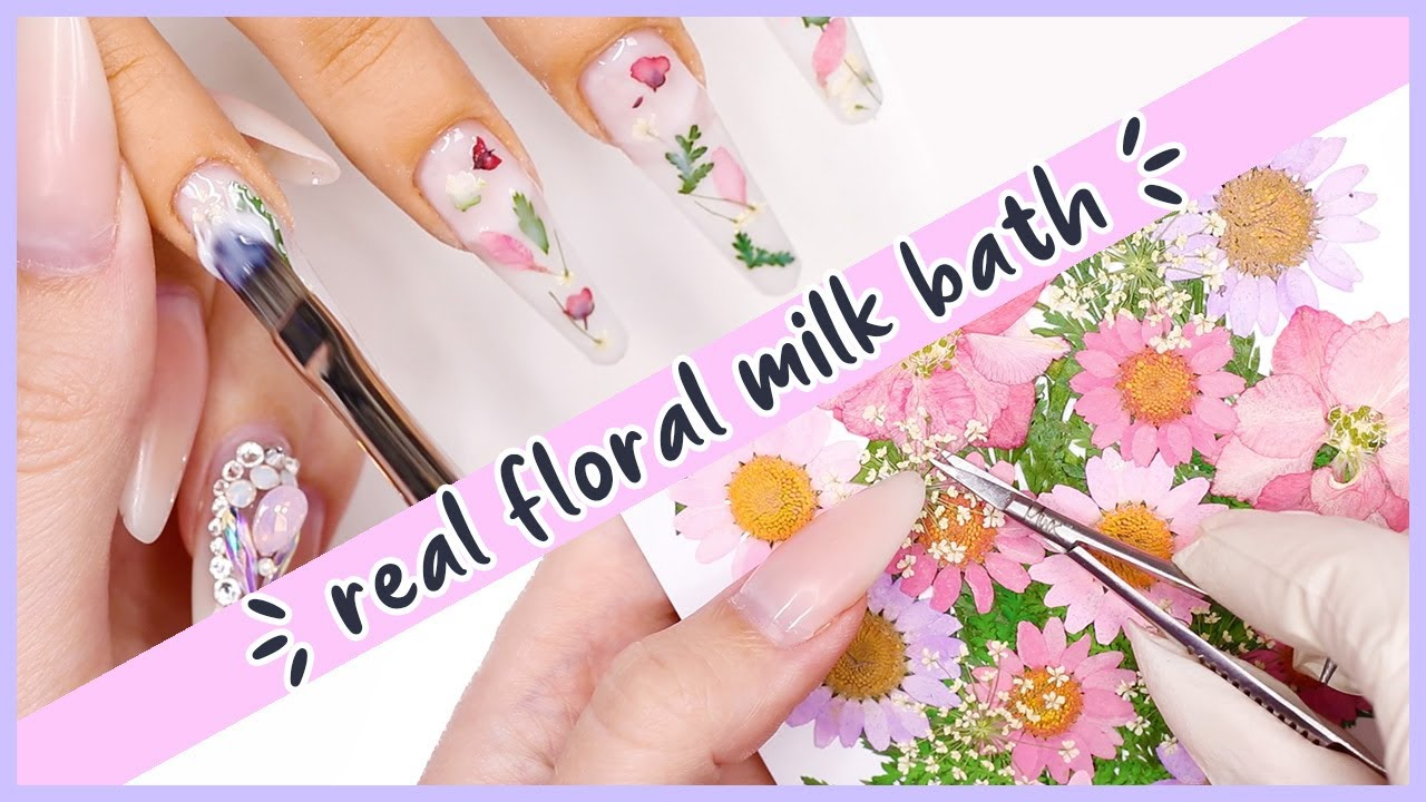 WOW! Milk Bath Nails Using Real Flowers! ♡