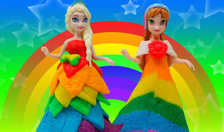 bff253d0aaef Disney Princess Rainbow Play Doh Dress Princess Anna Elsa Frozen Magic Clip  Dolls