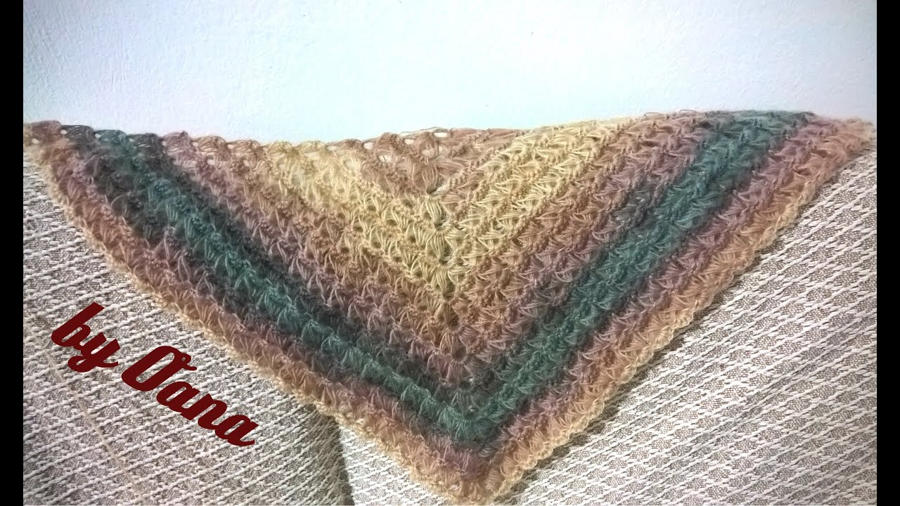 Crochet triangular broomstick lace shawl - YouTube