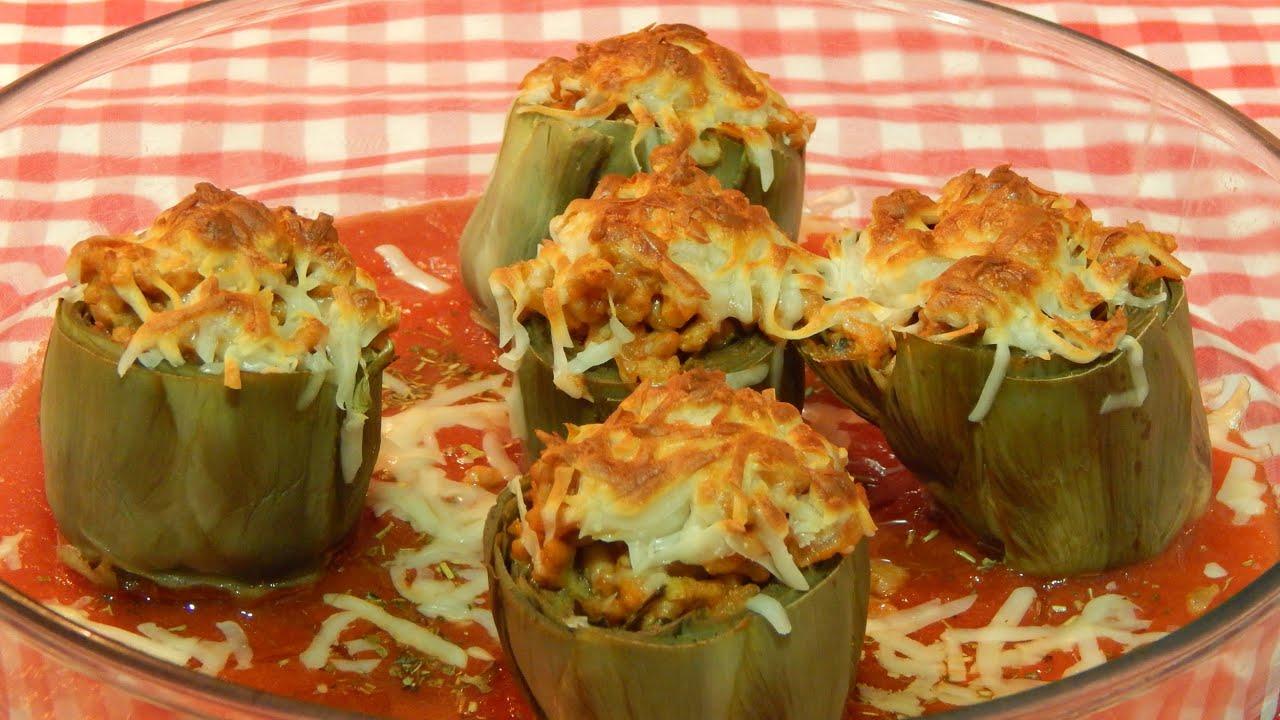 Alcachofas rellenas de carne receta f cil youtube - Arroz con alcachofas y jamon ...