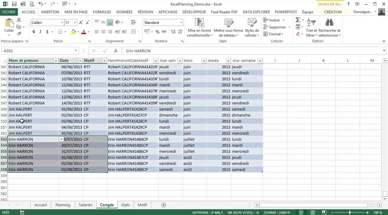 Gut gemocht Planning perpetuel avec Excel - YouTube XB69