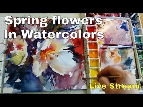 🔴 watercolors spring flowers paint live stream