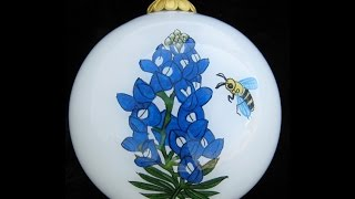 Texas Bluebonnet Christmas Ornament Inside Painted
