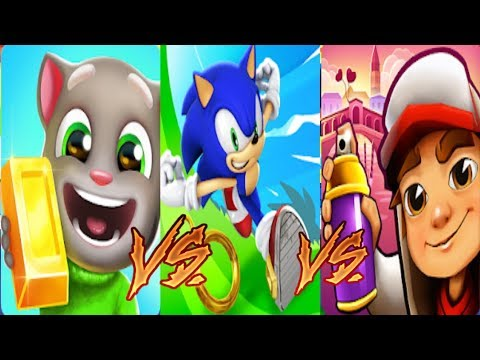 Talking Tom Gold Run VS Subway Surfers VENICE VS Sonic Dash Gameplay Соревнование