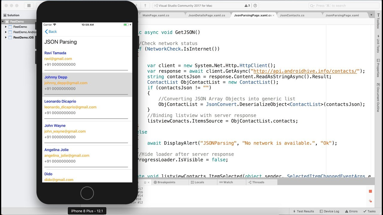 Xamarin Forms: Consuming Rest Webservice - JSON Parsing (C# - Xaml