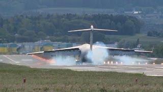 US Air Force C-17 landing runway 28 at ZRH ( amazing sound )