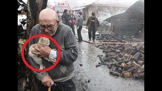 83 year old man saves his cat Sarikiz after losing everything in house fire