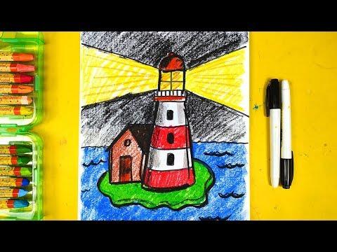 Маяк - бесплатный урок рисования от РыбаКит