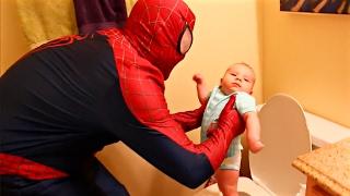 SPIDERMAN BABYSITTING Episodes 1-4 Spider-Man Babysitter Fail Funny Potty + Kids Prank